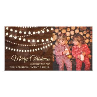 Country Christmas Lights | Rustic Wood Christmas Photo Greeting Card