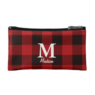 country Christmas Red buffalo plaid lumberjack Cosmetics Bags