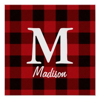 Country Christmas Red buffalo plaid lumberjack Poster