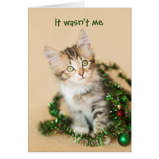 Country Christmas Tangled Up Kitten Card