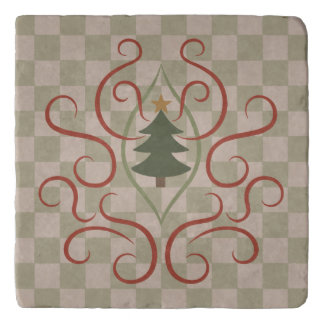 Country Christmas tree checkerboard pattern Trivet