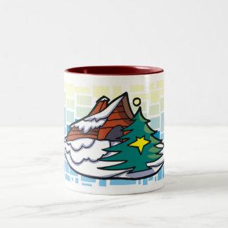 Country Christmas Tree Two-Tone Coffee Mug