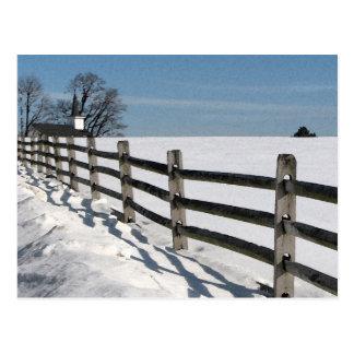 Country Church and Fence in Winter Postcard