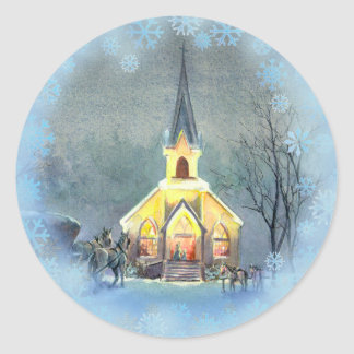 COUNTRY  CHURCH by SHARON SHARPE Classic Round Sticker