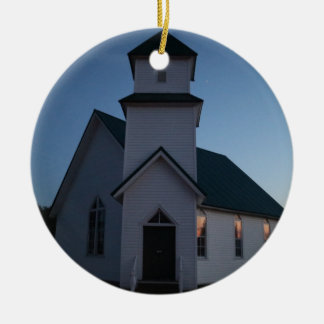 Country Church Ceramic Ornament