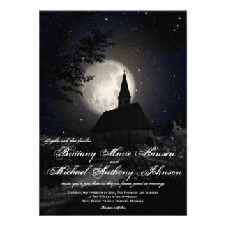 Country Church Full Moon Wedding Invitations