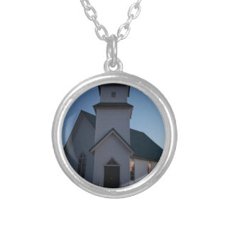 Country Church Silver Plated Necklace