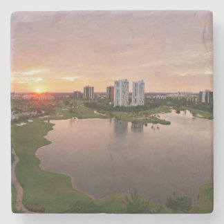 Country Club at sunset, Aventura, Florida Stone Coaster