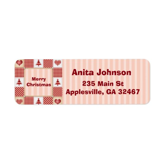 Country Coral Christmas Tree Return Address Label