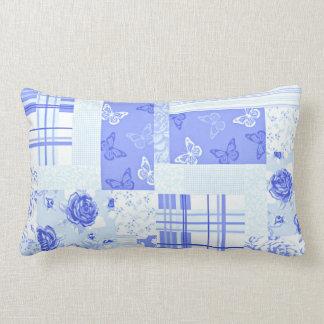 Country Cornflower Blue Cotton Pillow