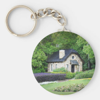 Country Cottage Basic Round Button Keychain