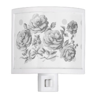 Country Cottage Floral Night Light in Grayscale