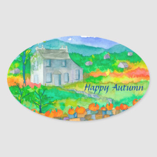Country Cottage Pumpkins Happy Autumn Oval Sticker