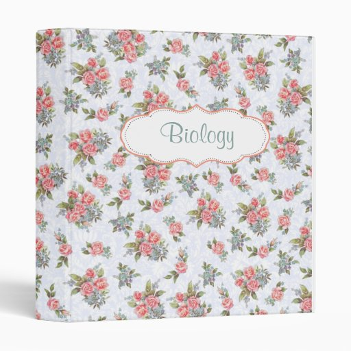Country cottage roses pink floral pattern binder