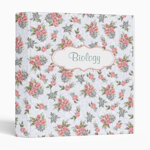 Country cottage roses pink floral pattern binder