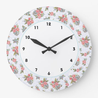 Country cottage roses pink floral pattern clock