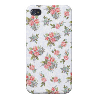 Country cottage roses pink floral pattern iPhone 4 cover