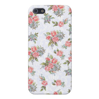 Country cottage roses pink floral pattern iPhone 5/5S cases