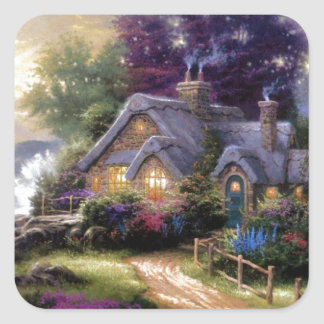 Country Cottage Square Sticker