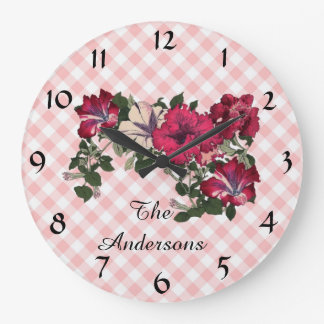 Country Cottage Style Gingham Check and Flowers Large Clock
