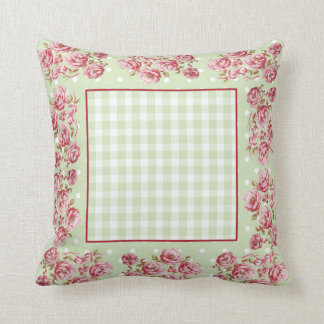 Country Cottage Throw Pillow in Green