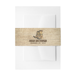 Country Cowboy Boots Rustic Wedding Invitation Belly Band