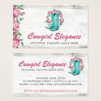 Country Cowgirl Boots & Shabby Roses Rustic Wood Business Card