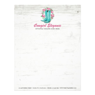 Country Cowgirl Boots & Shabby Roses Rustic Wood Letterhead