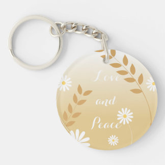 Country Daisies circle keychain