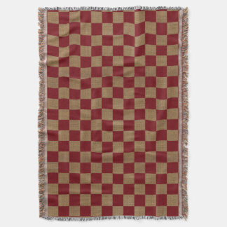 Country Dark Red and Tan Faux Burlap Throw Blanket