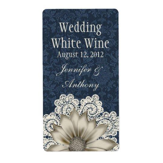 Country Denim & Ivory Lace Wedding Mini Wine Shipping Label