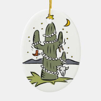 Country Desert Christmas Ceramic Ornament