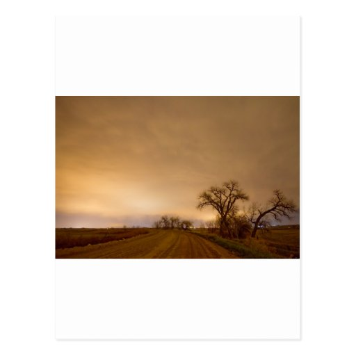 Country Dirt Road Into The Storm Post Cards