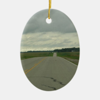Country Driving - Long Road - Green Grass Ceramic Ornament