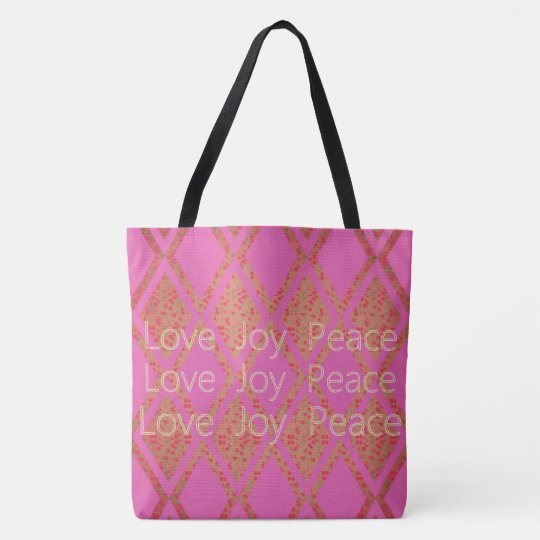 Country-Fabric's-LOVE-JOY-PEACE-Pink-TOTES Tote Bag