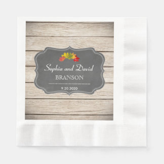 Country Fall Leaves Chalk Washed Wood Wedding Paper Napkins