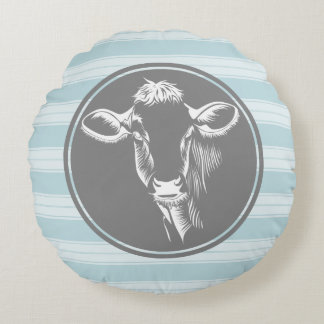 Country Farm Cornflower Blue White Cow Sketch Round Pillow