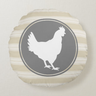 Country Farm Creamy Tan White Hen Silhouette Round Pillow