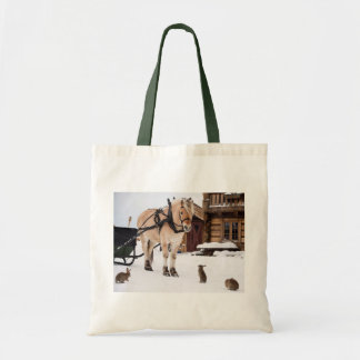 Country farm idyll horse rabbits in snow tote bag