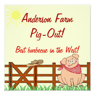 Country Farm Pig Barbecue Card