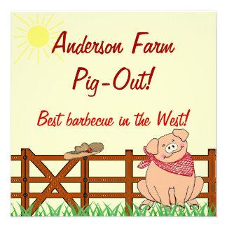 Country Farm Pig Barbecue Personalized Invite