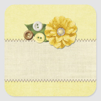 Country Farmhouse Yellow Sewing Buttons & Flower Square Sticker