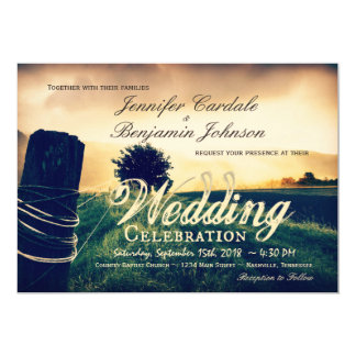 Country Field Fence Post Wedding Invitations
