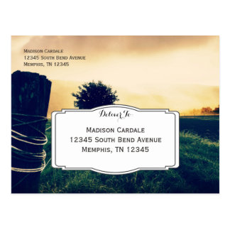Country Field Fence Post Wedding RSVP Postcards