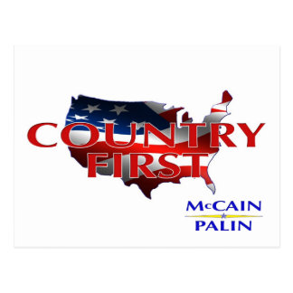 Country First John McCain Sarah Palin postcards