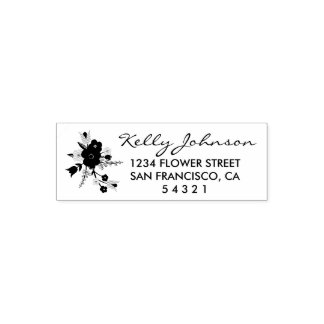 Country Floral Address Stamp