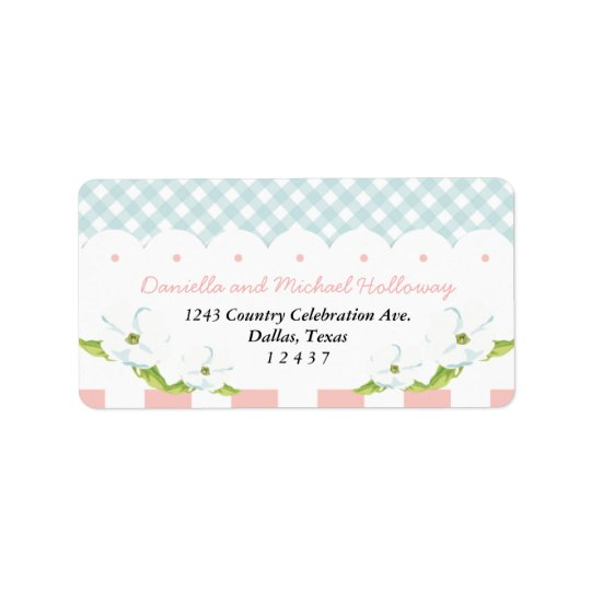 Country Floral Gingham Pink Blue Wedding