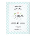 "Country Floral Gingham Pink Blue Wedding 5"" X 7"" Invitation Card"