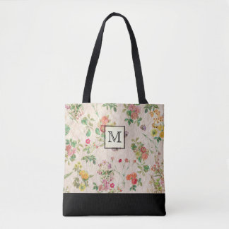 Country Floral Monogram Tote Bag