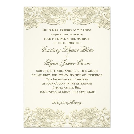 Country Floral Vintage Lace Design Wedding Custom Invite